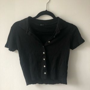 Brandy Melville black cropped button up